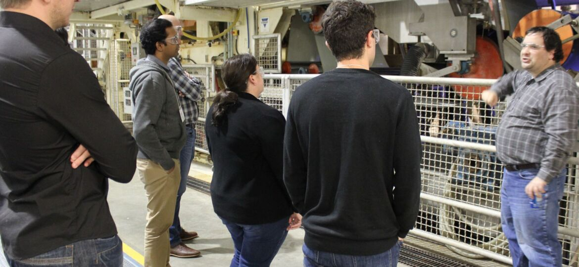 participants in front of pilot tissue machine