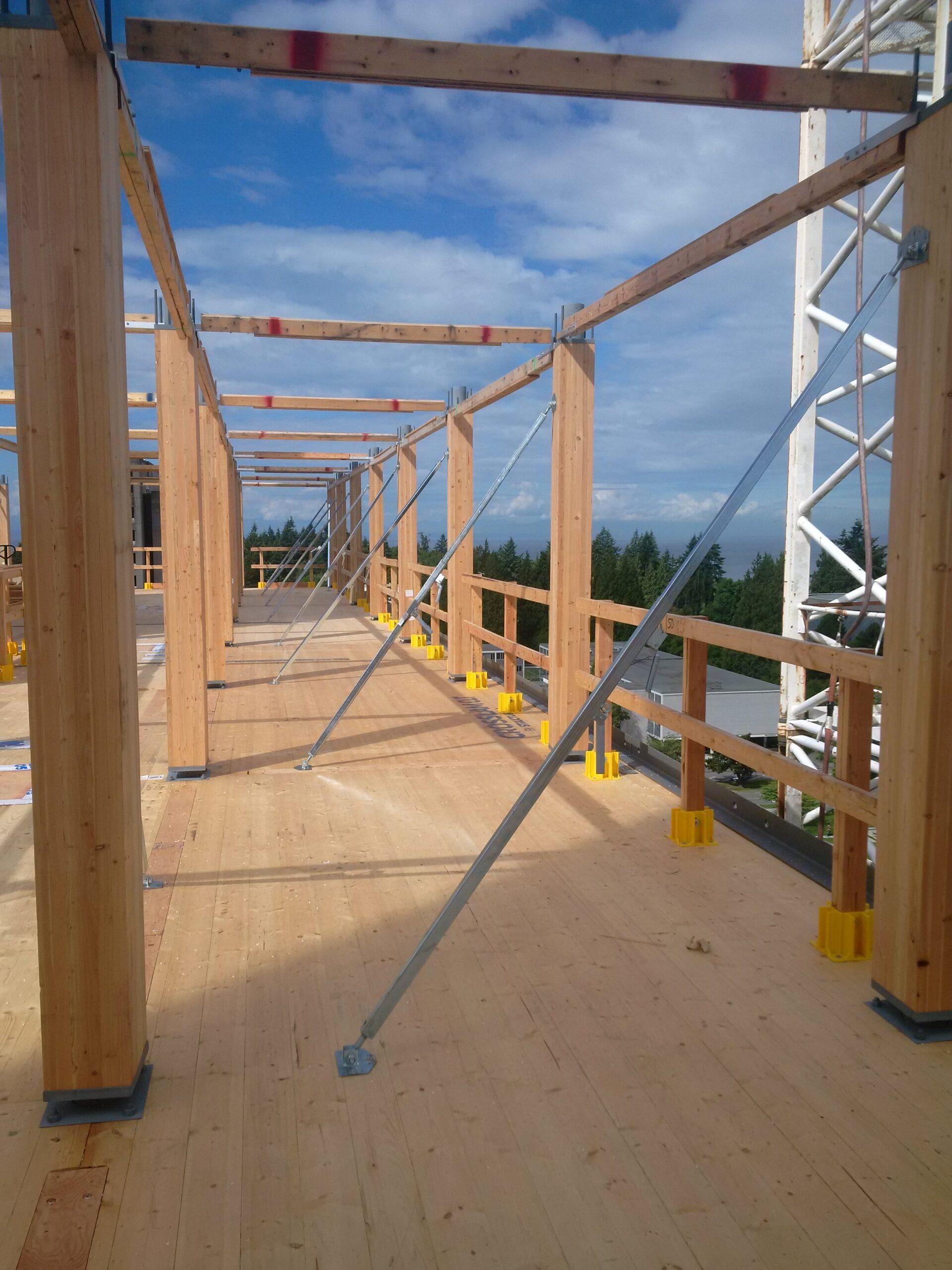 Wood building under construction
